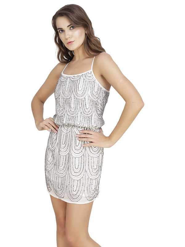 Jenniffer Round Neck Dress Ivory Gunmetal