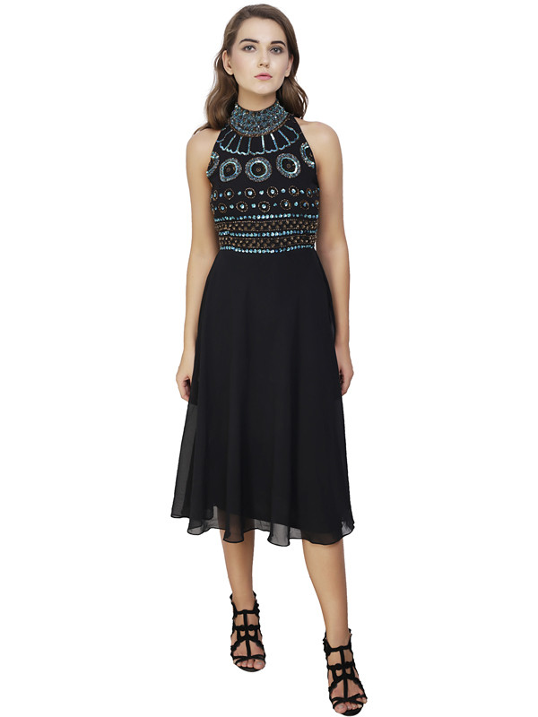 Debra Round Neck Dress Black Multi