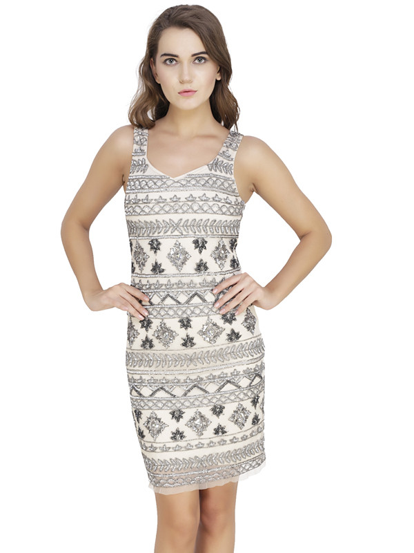 Nancy Round Neck Dress White Silver