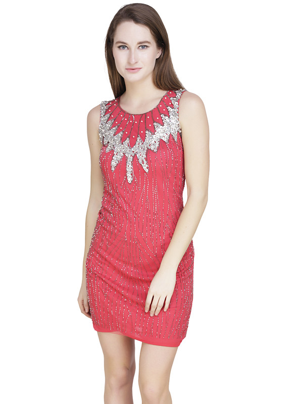 Laurie U-Neck Dress Coral Silver Gold