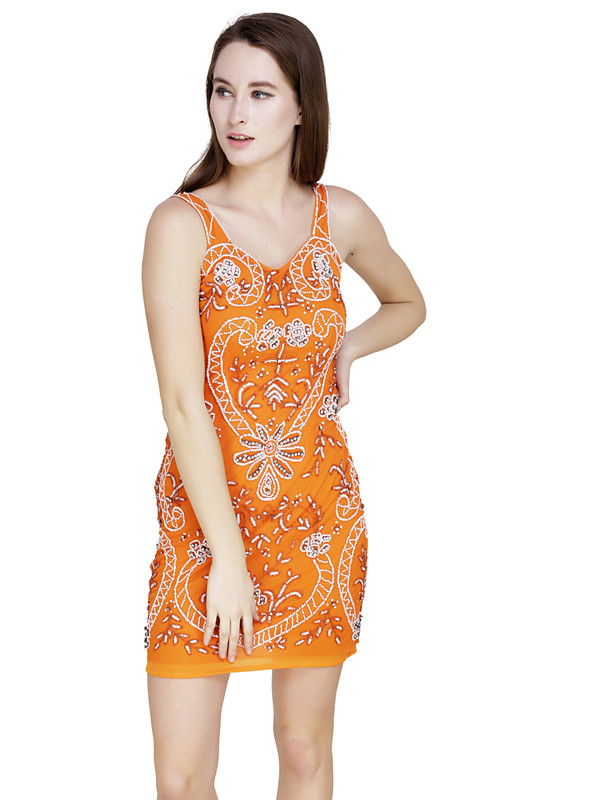 Ann U-Neck Dress Orange White Silver