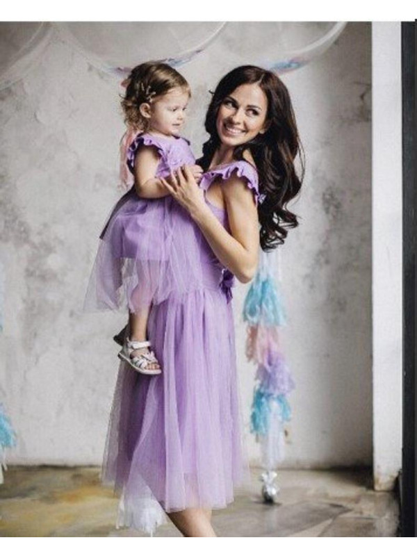 Lavender Mom and Daughter Dress