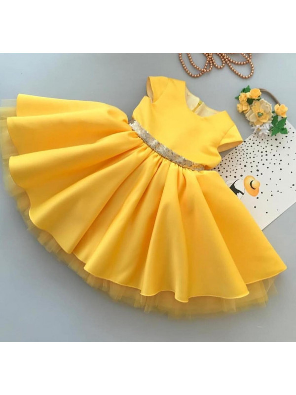 Anna yellow gown with Golden Sequin Bow