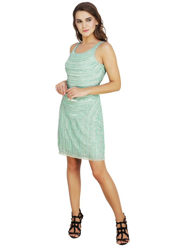 Karen Round Neck Dress Aqua