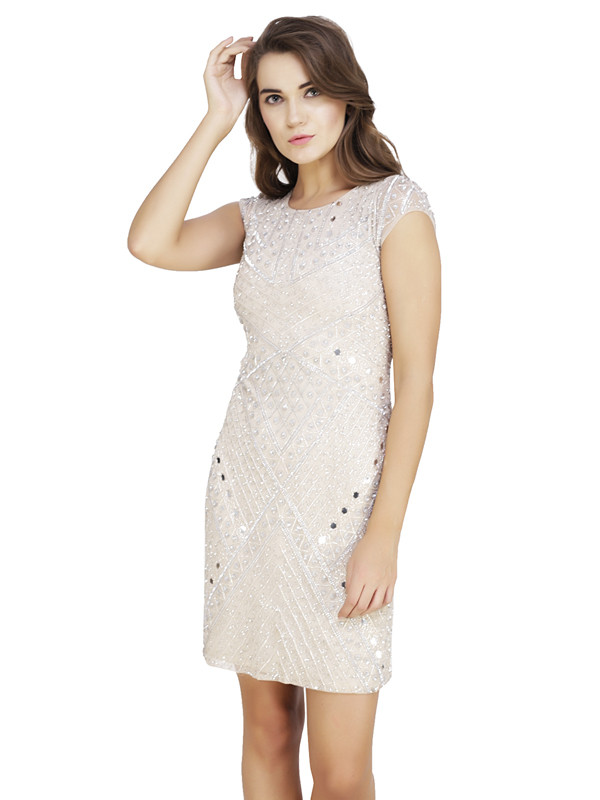 Brenda Round Neck Dress Silver