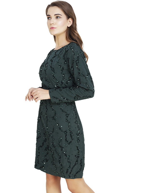 Asharon Round Neck Dress OceanGreen