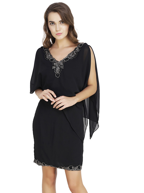 Christine V-Neck Dress Black Silver