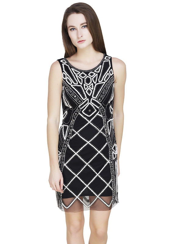 Diane Round Neck Dress Black Silver