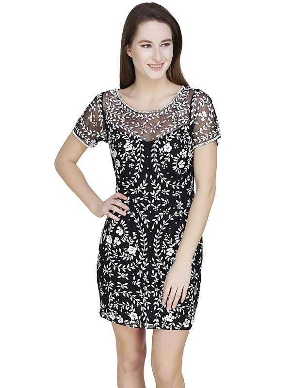 Kathy Round Neck Dress Black White