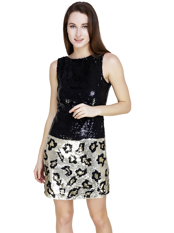 Jacqueline Leopard Dress Black Animal Print