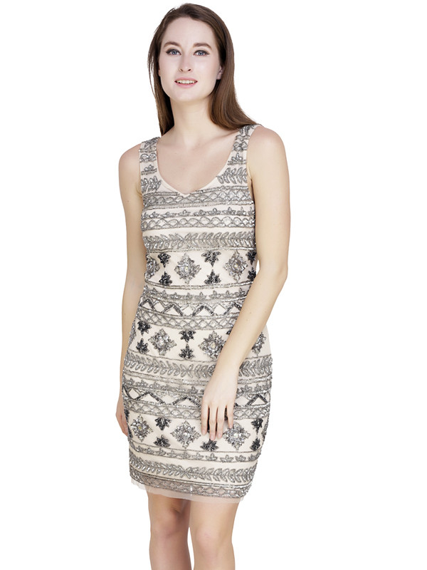 Catherine V-Neck Dress White Silver