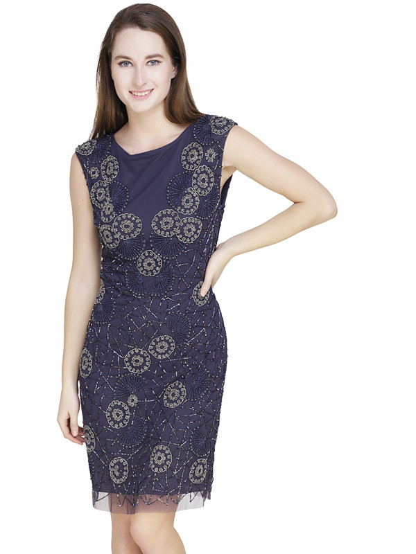 Jill Round Neck Dress Blue Silver