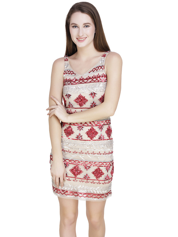 Conne Sweet Heart Neck Dress White Red