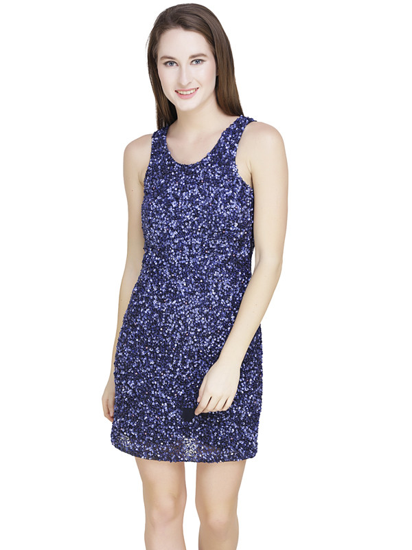 Terri Round Neck Dress Blue Silver