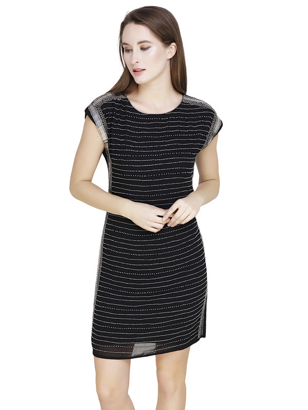Andrea Boat Neck Dress Black Gunmetal