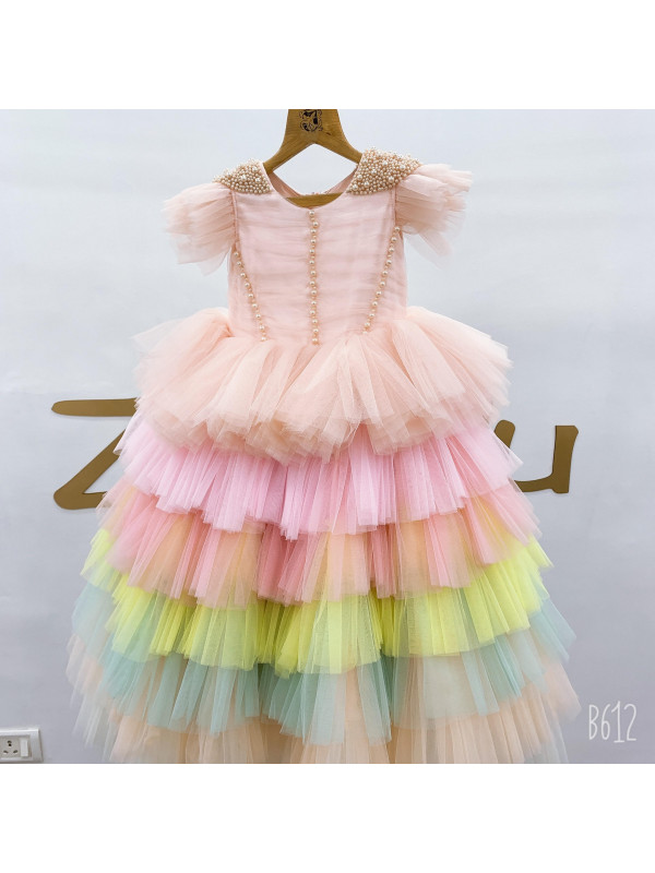 Zolindu Pearl Beaded Mulilayer dress