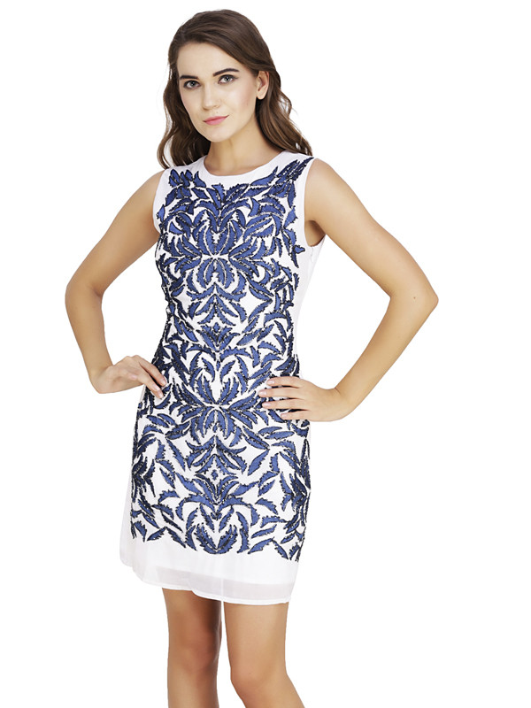 Pamela Boat Neck Dress White Blue