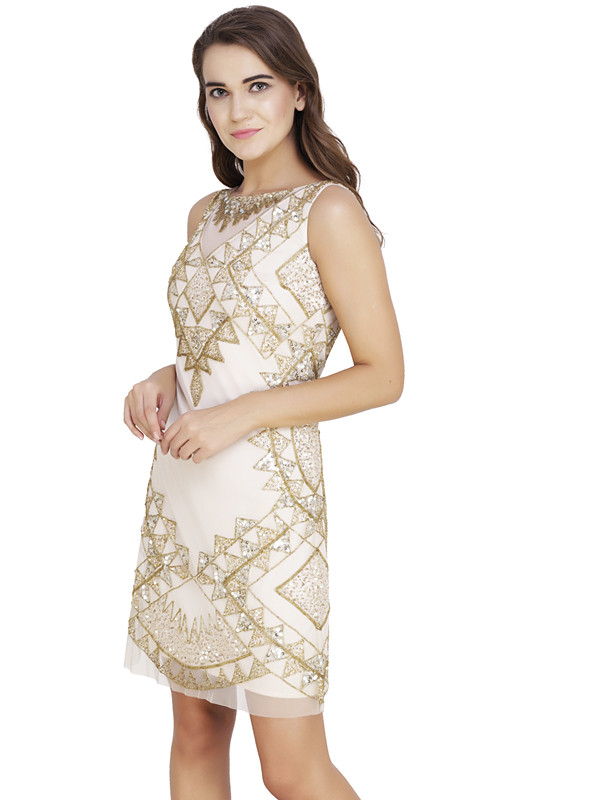 Barbara Round Neck Dress Ivory Gold