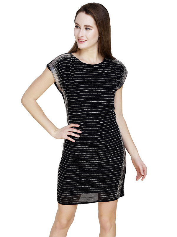 Rebecca Boat Neck Dress Black Gunmetal