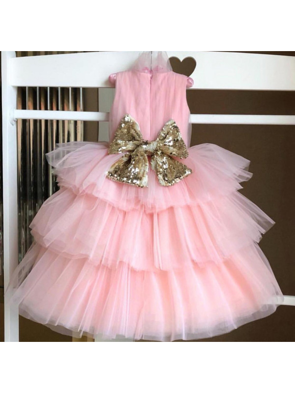 Annie Baby Pink With Gloden Sequin Bow Multilayer Dress