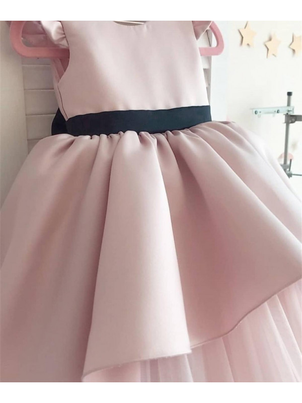 Gracie Tea Pink Gown With Black Bow