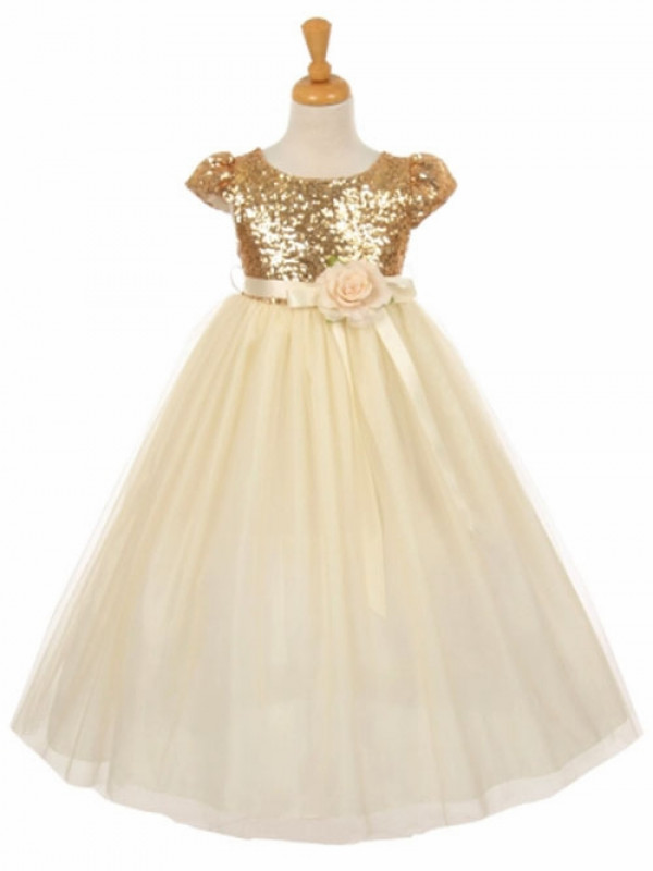 Zolindu  Aaida Gold Short Sleeve Sequins & Tulle Dress