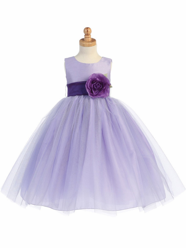 Zolindu Abrielle Lilac Poly Silk Bodice & Tulle Skirt Dress w Detachable Flower & Sash