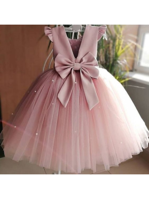 Zolindu Ani Tea Pink Dress ( With Pearl Belt )