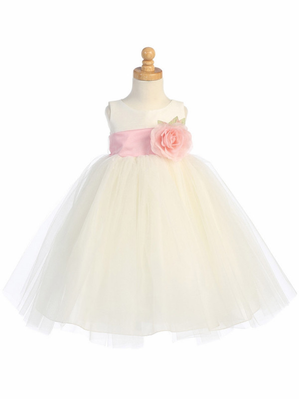 Zolindu Chloe Ivory Poly Silk Bodice Tulle Skirt Dress W-DetachableFlower