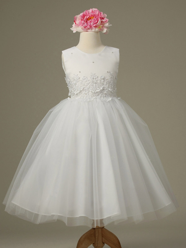 Zolindu Lina White Cinderella Tulle Flower Girl Dress